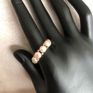 Pink Freshwater Pearl Stretch Ring Button Pearls